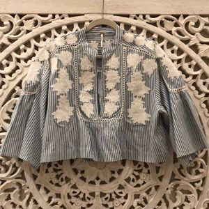 FREE PEOPLE Liya Embroidered Striped Blouse Top XS